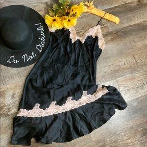 Victoria's Secret Intimates & Sleepwear - Victoria's Secret Silk Nightie | Black W/ Lace